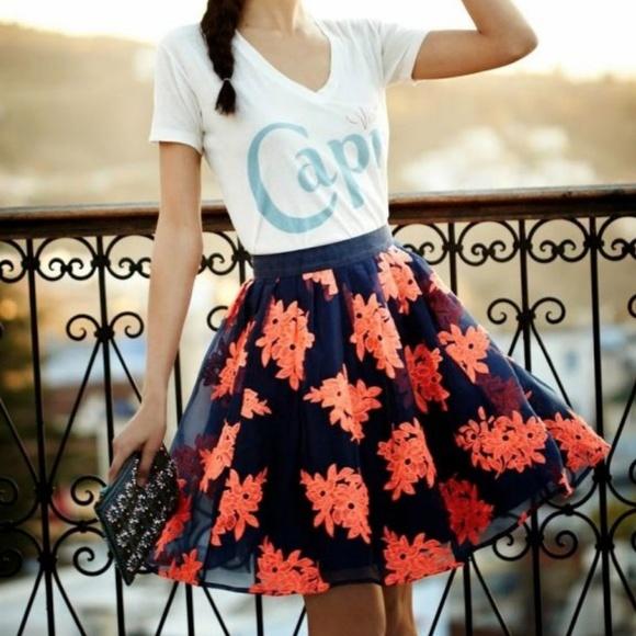 b3c17db11 Maeve Dresses & Skirts - NEW Anthropologie Maeve Embroidered Tulle Skirt 10